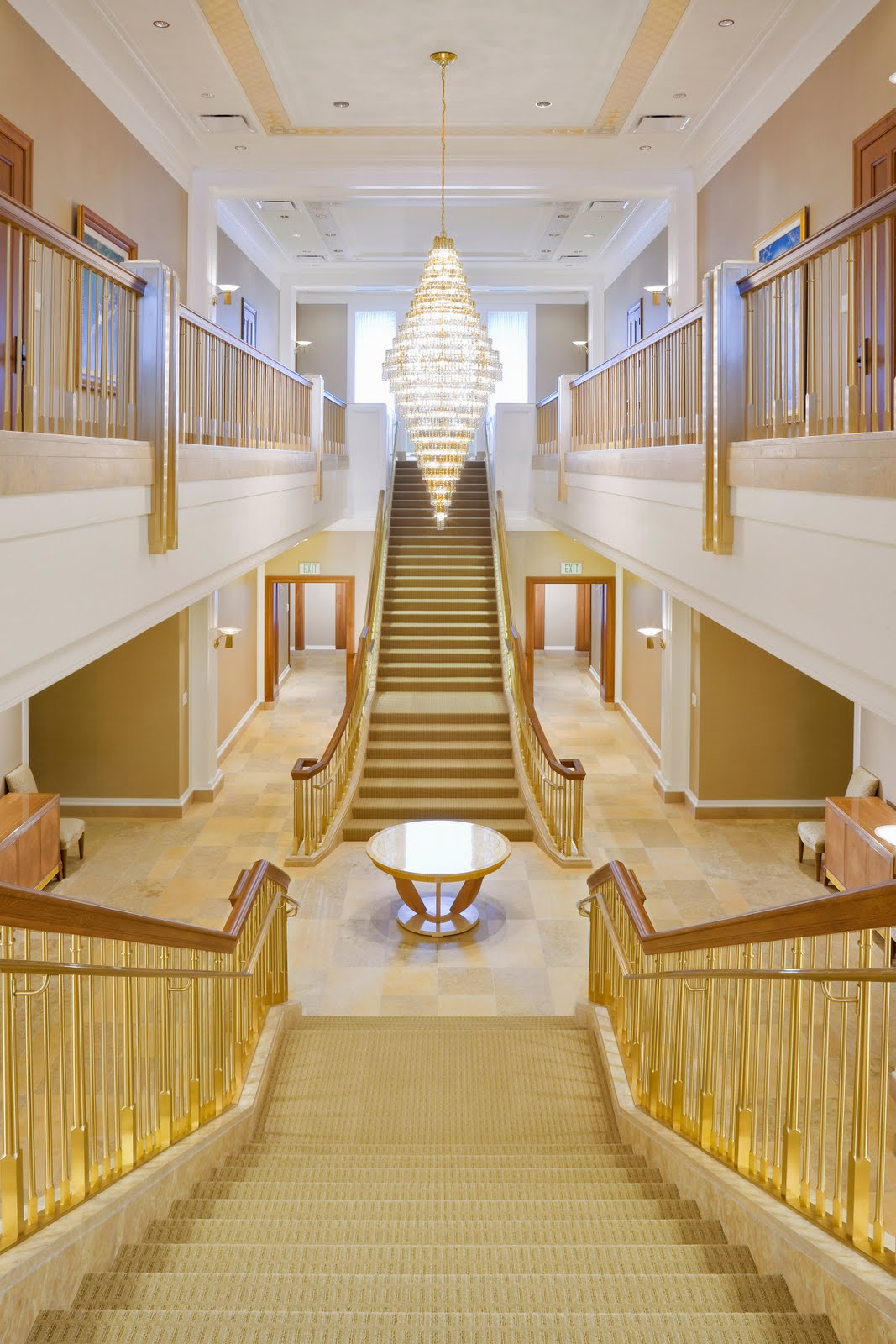Stained glass and grand staircases an inside look at lds for Temple inside home designs