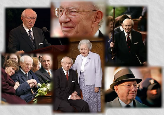 Collage of LDS Church President Gordon B. Hinckley