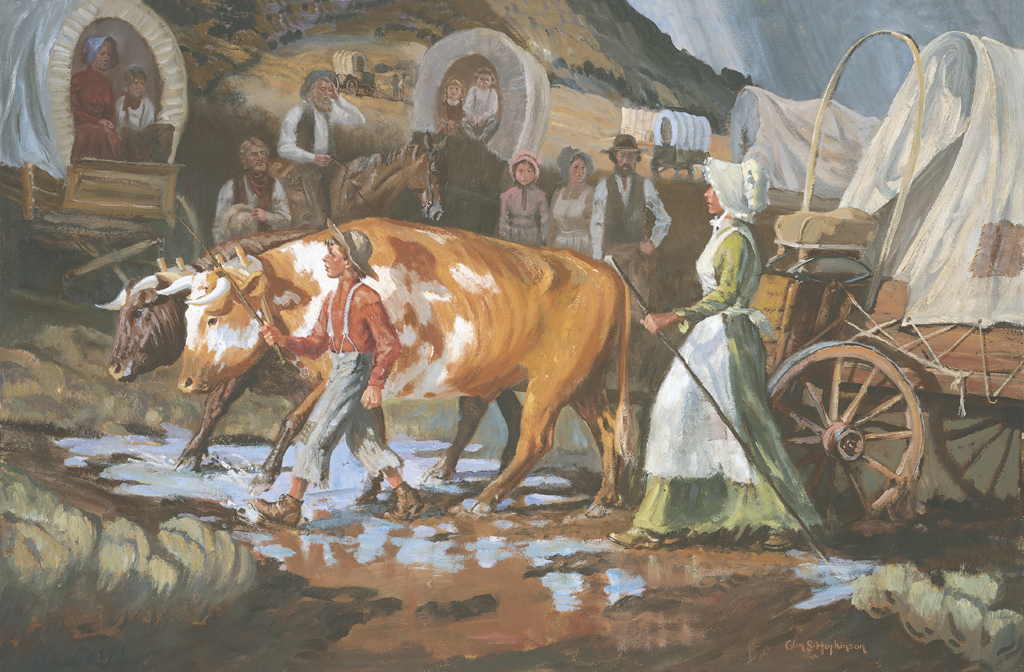 Mary Fielding and Joseph F Smith Crossing The Plains by Glen S Hopkinson